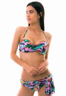 Bandeau pareo style bikini with colorful Cuba print - ILHA DE CAPRI
