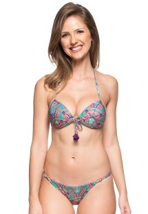 Colourful printed push-up bikini with tassels - ILHAS BAHAMAS