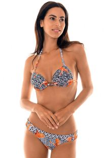 Geometric print bikini with orange motifs - INDIANISMO