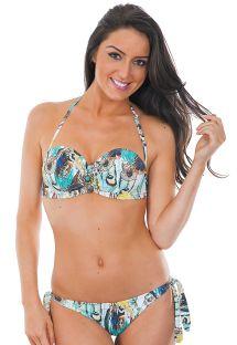 Bandeau bikini med bh-metalbøjler og fjermønster - JOIA HIPPIE