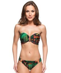 Tropical print balconette top bikini with orange stone detail - LAGO DAS PEDRAS