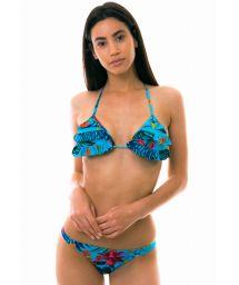 Floral blue triangle bikini, scrunch bottom - LAGO HURON