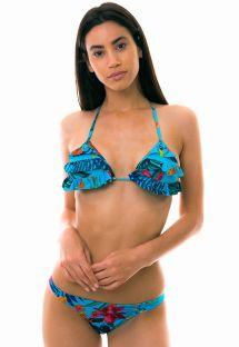 Bikini triangle floral bleu à volants - LAGO HURON
