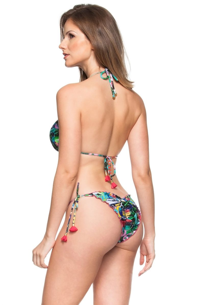 Multicoloured Cuba-print scrunch bikini with tassels - LAGOA PROTEGIDA
