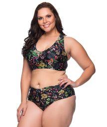Black floral pleated crop top bikini plus size - LARGA DREAM
