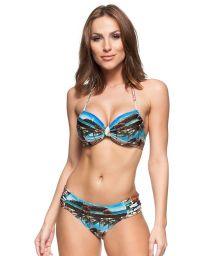 Balconette bikini with pleated bottom and Cuba print - LIBERDADE