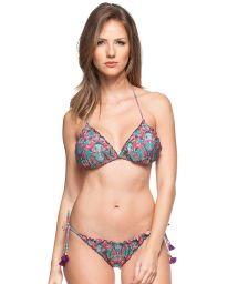 Colourful printed scrunch bikini with tassels - LITORAL EUROPEU