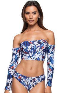 Floral blue bikini with long-sleeved crop top- LITORAL HONDURENHO