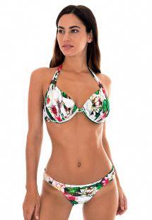 ביקיני בסגנון משולש בעיצוב צעיף עם מסגרת תמיכה והדפס פרחי נופר - LOTUS CARIBBEAN