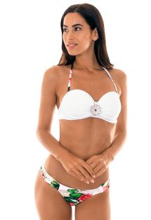 Waterlily pattern underwired bandeau bikini - LOTUS DRAPEADO