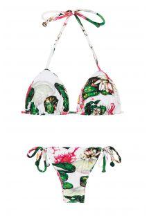 ביקיני בסגנון משולש מרופד, חלק תחתון מחליק עם מוטיב פרחי לוטוס - LOTUS SUMO