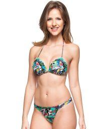 String triangle padded bikini - Cuba print - LUZ DE ACACIAS
