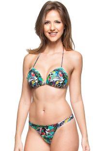 Stringbroekje en driehoekige bikinitop met voorgevormde cups, Cuba motief - LUZ DE ACACIAS