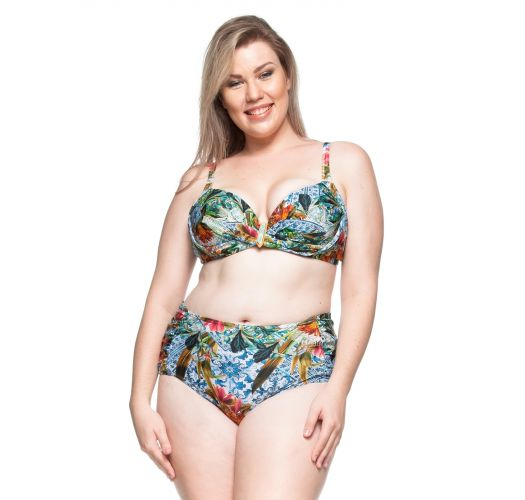 Plus-size balconette bikini with floral print - MAR COLORIDO