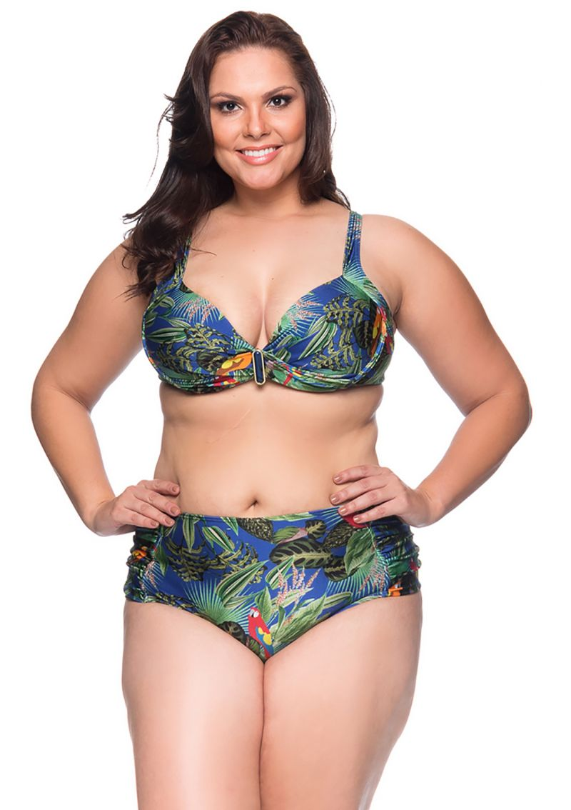 Tropical floral balconette bikini - plus size - MEIA TACA PEDRA ARARA AZUL
