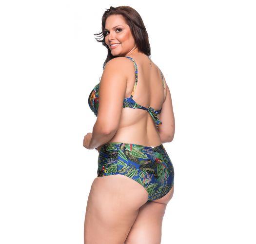 Balconette-Bikini mit Tropenprint, Plus Size - MEIA TACA PEDRA ARARA AZUL