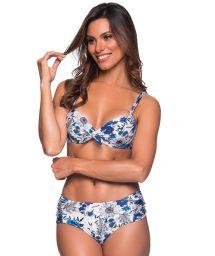 Blaugeblümter Balconette-Bikini, Formbügel - NO ATOBA
