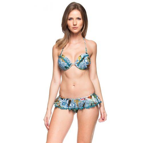 Bikini brasiliano con gonna stampa colorata  - NUKU HIVA