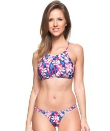 Pink and blue floral cross back crop top bikini - OCEANO INDICO