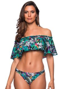 Colorful floral bandeau bikini with ruffle shoulders - OMBRO ATALAIA
