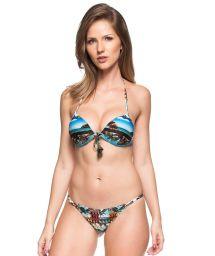 Hard padded Brazilian bikini with ocean print - ONDAS AZUIS