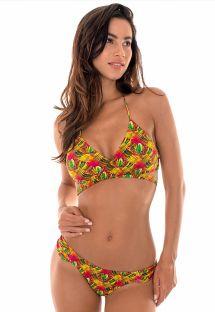 Bikini brasileño estampa palmeras de colores - PALMEIRA CRUZADO