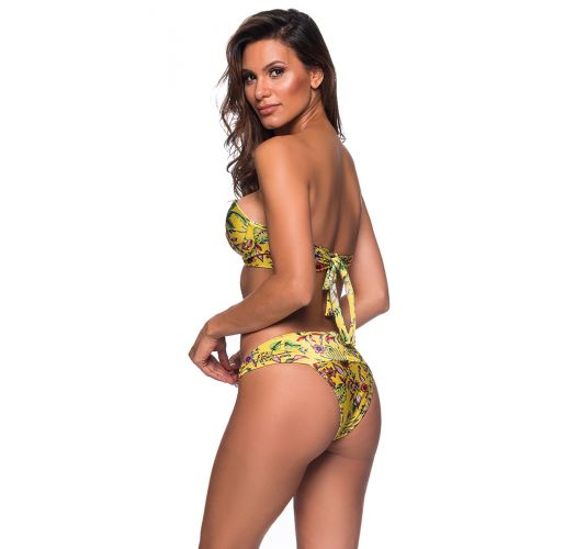 Yellow floral Brazilian bikini balconette with stones - PEDRA DREAM AMARELA