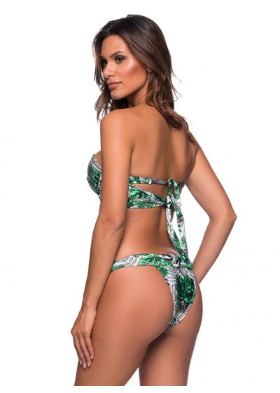 Balconette-Bikini, Blattmuster, Schmucksteine - PEDRA VIUVINHA