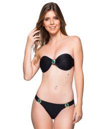 Schwarzer Bandeau-Bikini mit grünen Steinen - PEDRAS PRETO LP