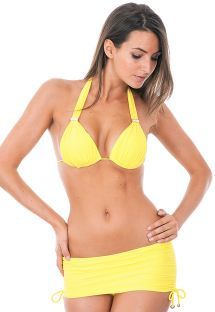 Gul brasiliansk bikini med kort bikini-skørt - PEDRAS STREGA