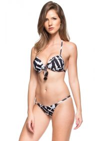 Black and white push-up bikini with tassels - PEQUENA ILHA