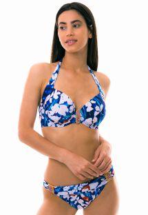 Bikini con top balconette azul y blanco con acessorio - PEROLA DO MAR
