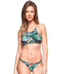 Cuba-print cross-back crop top bikini - PINHEIRO