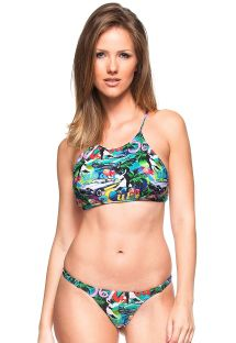 Multikolorowe bikini stringi z crop topem - PINHEIRO