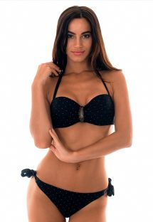 Black bandeau bikini with polka dots and leaf detail - POA FAIXA
