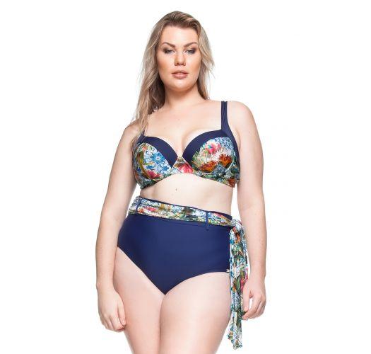 Plus-size balconette bikini in blue + pareo - PRAIA DAS FONTES