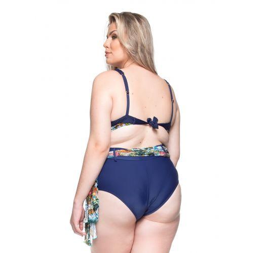 Balconette-Bikini, große Größen, blau + Pareo - PRAIA DAS FONTES