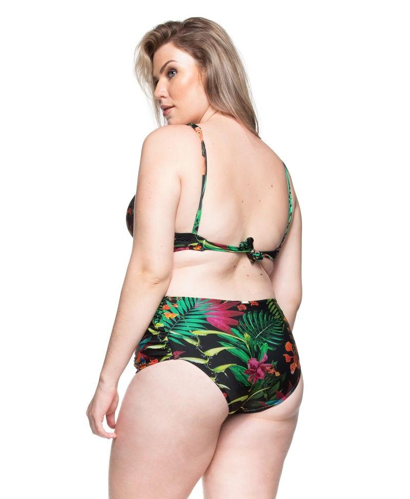 Plus-size balconette bikini in tropical black - PRAIA DO FAROL