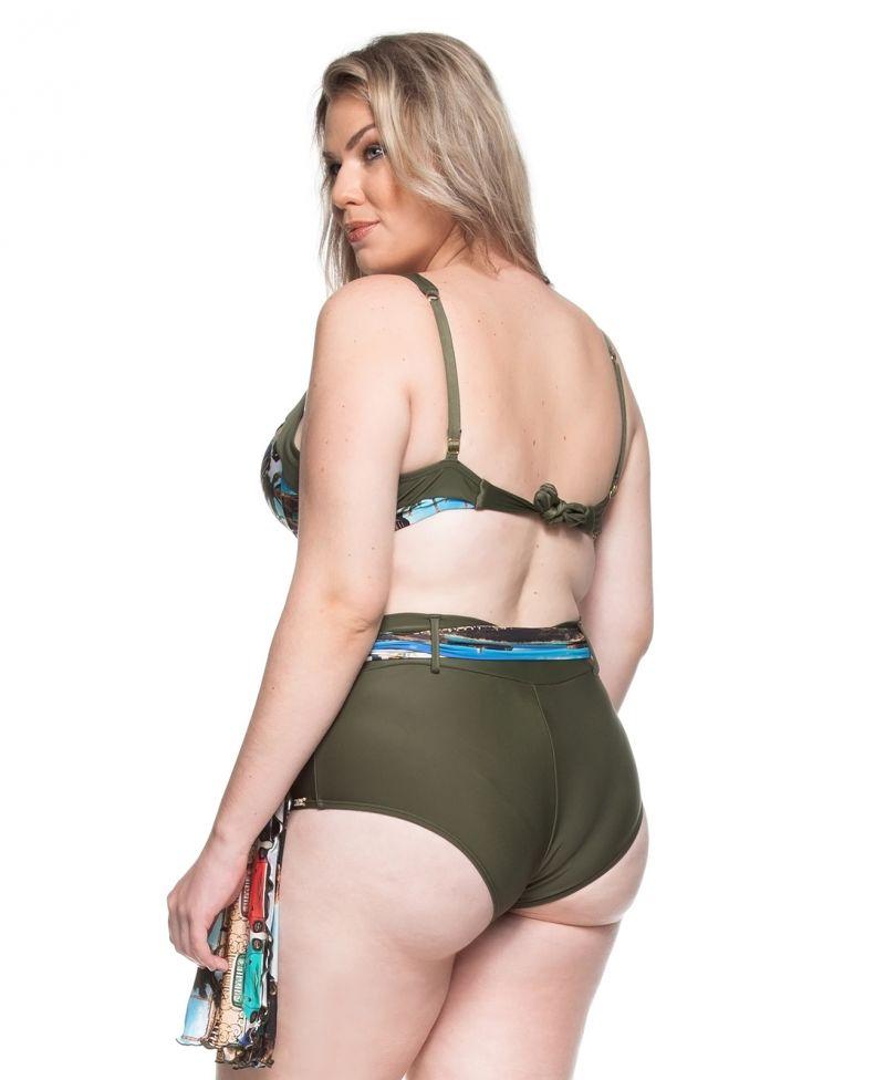 Khakifärgad balconnette bikini, stora storlekar, pareo nedredel - PRAIA DO RIO DOCE