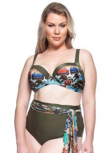 Bikini balkonetka khaki plus-size + pareo - PRAIA DO RIO DOCE