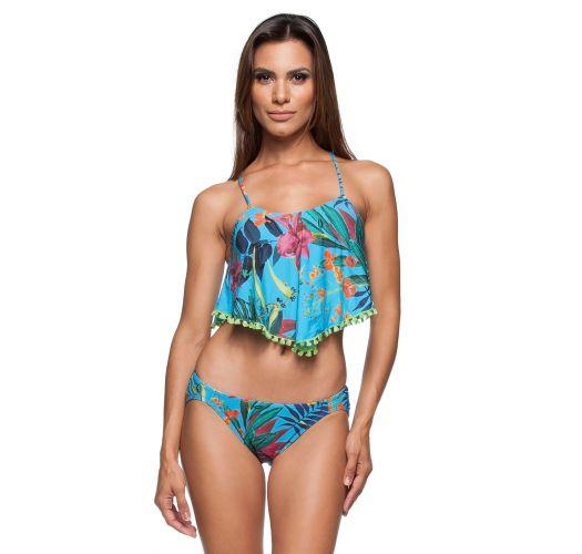 Bikini crop top floreale con grande volant - PRAIA DOCE