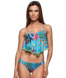 Floral crop top bikini with a big ruffle and frills - PRAIA DOCE