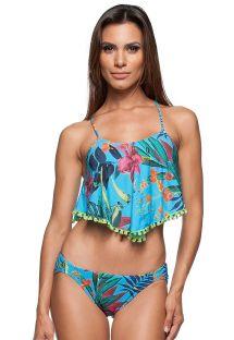 Bikini crop top floral bleu bordé de pompons - PRAIA DOCE