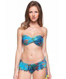 Tropical blue bikini bandeau with a skirt - PRAIAS DO CARIBE