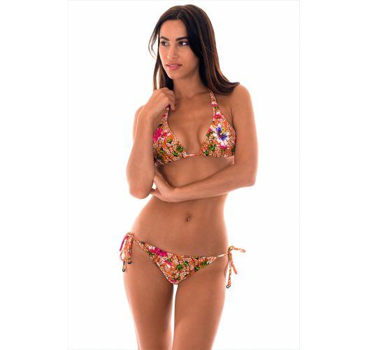 Orange floral halterneck triangle bikini - RAMALHETE IGUAL