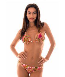 Orange floral print paddedtriangle bikini - RAMALHETE LARANJA