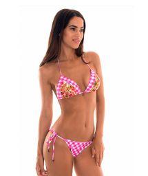 Pink gingham and floral print scrunch Brazilian bikini - RAMALHETE VICHY