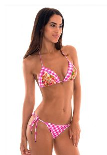 Bikini brésilien scrunch Vichy rose/fleuri - RAMALHETE VICHY