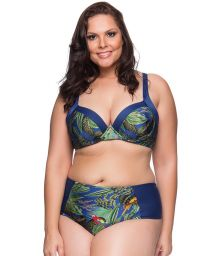 Tropical/navy balconette bikini - plus size - RECORTES ARARA AZUL