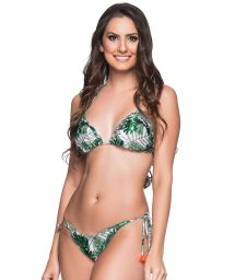 Green leaves scrunch bikini with pompons - RILLPLE VIUVINHA